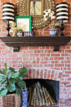 How to use lamps on the mantle when there's not an outlet there // how to hide cords on mantle