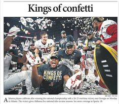 KINGS OF CONFETTI Front page of The Times-Call (Colorado), following Bama's 26-23 OT win in the College Football Playoff National Championship at Mercedes-Benz Stadium in Atlanta, 2018 National Champions! #Alabama #RollTide #Bama #BuiltByBama #RTR #CrimsonTide #RammerJammer #CFBPlayoff #NationalChampionship #CFBNationalChampionship2018