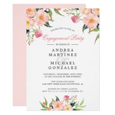 #engagement #party #invitations - #Elegant Watercolor Pink Floral Engagement Party Card