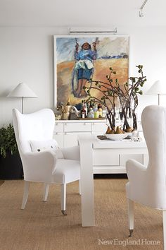 Gerald Gavzy's painting of his swinging granddaughter overlooks the dining table.
