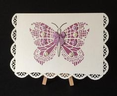 Butterfly card lacey on Craftsuprint - Add To Basket!