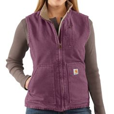 Carhartt Sandstone Vest - Sherpa-Lined (For Women) maybe in burgundy