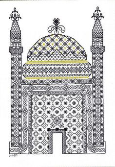 Granada - blackwork kit by Classic Embroidery - A temple with dome and towers decorated with mosaics in the Moroccan style of that area of Spain. Blackwork Cross Stitch, Blackwork Embroidery, Embroidery Kits, Cross Stitching, Embroidery Stitches, Simple Cross Stitch, Cross Stitch Kits, Cross Stitch Designs, Cross Stitch Patterns