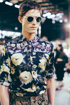 Dries Van Noten. Dark floral prints like this are perfect for spring/ summer menswear this year.