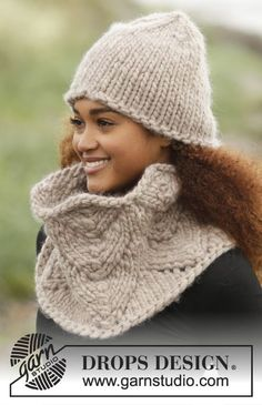 Cinnamon hat and cowl by DROPS Design. Free #knitting pattern