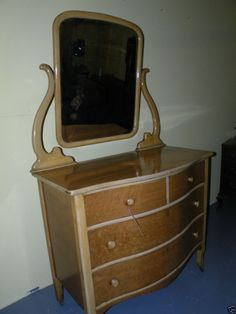 Antique Rare Birdseye Maple Bedroom Dresser With Mirror
