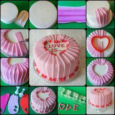 pleats Cake Decorating With Fondant, Cake Decorating Videos, Cake Decorating Techniques, Fondant Cupcakes, Cupcake Cakes, Cupcakes Design, Birthday Cake Writing, Gift Box Cakes, Valentines Day Cakes