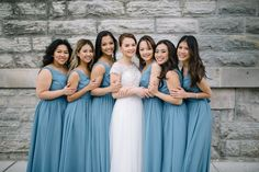 These bridesmaids totally nailed the slate blue theme! Slate blue is perfect for a variety of skin tones | Kennedy Blue bridesmaid dress style Anna is featured | 18 Slate Blue Bridesmaid Dresses Worth Obsessing Over