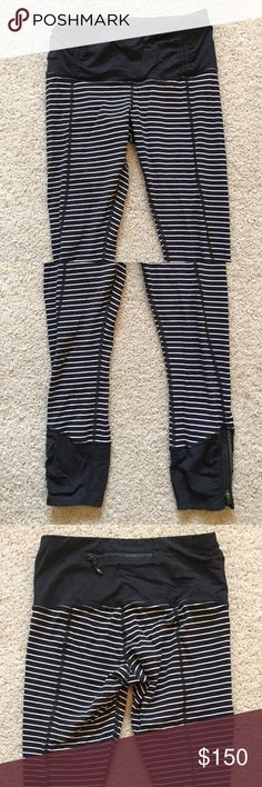 lululemon black and white striped 3/4 pants Lightly worn. No snags. One of a kind. Not sold in stores anymore! lululemon athletica Pants Leggings