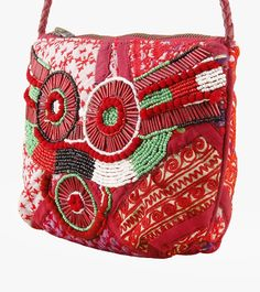 Red Cotton Embroidered Sling Bag #embroidery #clutches #slingbags #cotton