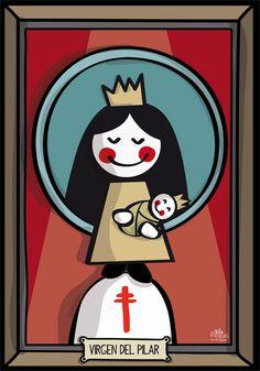 Desde Zaragoza os deseamos un feliz día del Pilar! Jesus Cartoon, Religion Catolica, Religious Images, Pagan, Christian, Illustration, Instagram Posts, Painting, Craft
