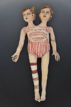 Twins spirit board/Reminds me of AHS Freak Show Creepy Toys, Scary Dolls, Creepy Art, Theme Halloween, Halloween Doll, Ouija, Doll Parts, Assemblage Art, Hello Dolly