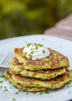 This Zucchini Fritters recipe is easy and tastes crazy good; especially with sour cream. My husband made them twice in one day, SO GOOOOD!