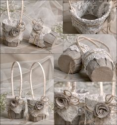 Flower Girl Basket & Ring Bearer Pillow Set by DecorisWedding
