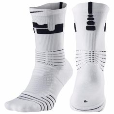 Nike Mens LeBron Elite Versatility Crew Basketball White Socks M L XL SX5399-100 #Nike #Athletic