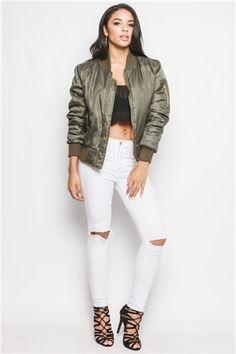 Kylie Khaki Zip Front Bomber Jacket at misspap.co.uk