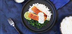 Tandoorilaks med spinat og ris - Kolonial.no Frisk, Vegetarian Recipes, Grains, Food, Gourmet, Spinach, Essen, Meals, Seeds