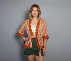 70s INDIA Cotton WRAP TOP / Crochet Trim by luckyvintageseattle, $42.00