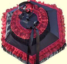 victorian parasols | Victorian Red Lace & Fringe Parasol