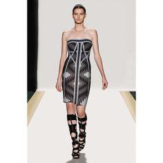 Herve Leger Strapless Geometric-pattern Dress