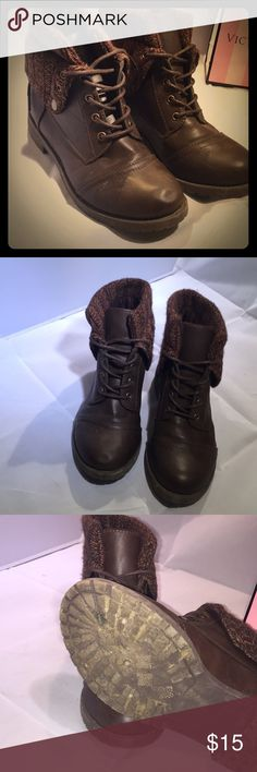 Brown boots Brown short boots with knit top. Cute for a fashionable day out! Rue 21 Shoes Ankle Boots & Booties
