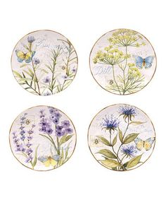 Herb Garden Dessert Plate - Set of Four
