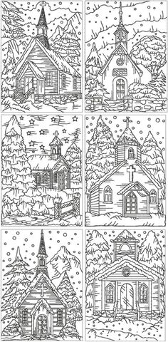 Advanced Embroidery Designs  Christmas Church Set. I like the idea of this pattern, probably not the work though