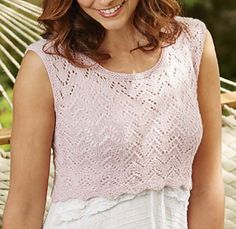 SUMMERY AND sweet, this lacy vest by Anniken Allis is designed to be layered over a dress or blouse. It is worked in the round to the underarms; the front and back are then worked separately to the shoulders, which are joined by working a three-needle cast-off. Garter stitch edgings are knitted on around the armhole and neck line - this means no sewing up.