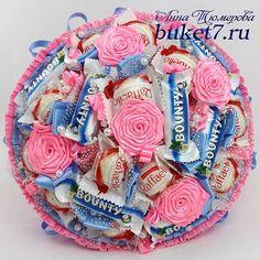 Сладкий букет выполнен на заказ. Можно заказать на сайте buket7.ru