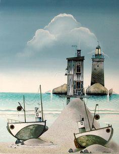 Gary Walton art. Lighthouse out at sea with tug boats on a sandy beach.