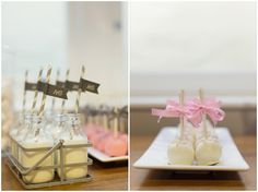 sweet pink & grey treats at this pretty dessert table   photo by http://www.debsivelja.com/