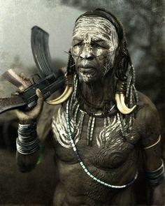 Mursi Tribesman, adam skutt on ArtStation at https://www.artstation.com/artwork/mursi-tribesman