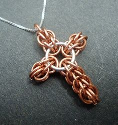 Copper and Sterling Silver Persian Cross Necklace