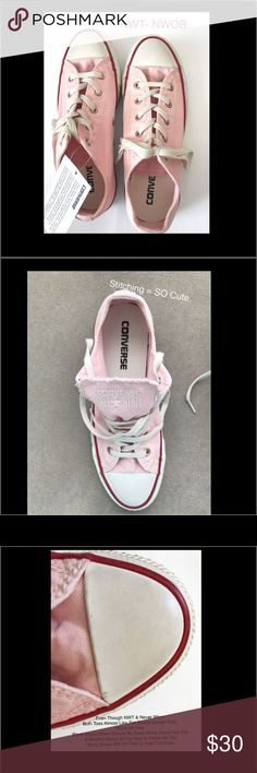 NWT / NWOB Pink Converse All Star Chuck Taylors NWT / NWOB Converse All Star Chuck Taylors  *Please Note*Never Worn See Pictures For Comments & Areas of Distress*  *Happens When Aren't In A Box, Shoe Bags etc. Moved Last Year, So Packed. Great Price!  Can Prob Clean To Look New. I Have, Don't Want To Make Promises.  Soft dainty feature (still classic style) LOGO STITCHING ON TONGUE vs heavier & bulky common patch. Reinforced rubber, Padded footbed cushion, Canvas Upper & Lining  Sturdy…