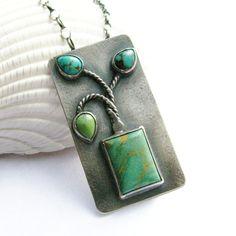Collier turquoise collier en argent Sterling Argentium par Mocahete