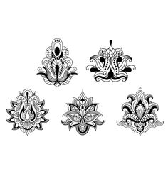 Black and white floral lotus motifs of persian style vector by Seamartini on VectorStock®