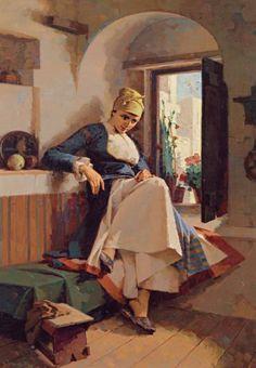 Γεραλής Απόστολος – Geralis Apostolos [1886-1983] Γυναίκα στο παράθυρο .