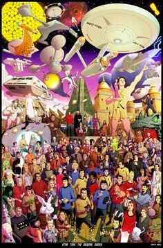 Star Trek The Original Series by *dusty-abell on deviantART. Can you name all the characters? (Check out her deviantART page for more supergeeky ensemble art!)