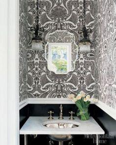 Black and White Powder Room love the wallpaper Bathroom Vanity Decor, Eclectic Bathroom, Bathroom Colors, Bathroom Ideas, Office Bathroom, Bathroom Sinks, Budget Bathroom, Basement Bathroom, Washroom