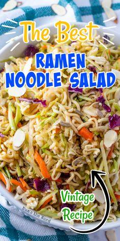 Best Ramen Noodles, Asian Ramen Noodle Salad, Ramen Noodle Recipes, Ramen Oriental Salad, Ramen Salad With Cabbage, Coleslaw With Ramen Noodles, Ramen Coleslaw, Oriental Coleslaw, Crunchy Noodle Salad