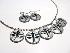Dragonfly Necklace and Earring Set in Silver Color Impression in Clay by VanessaStoryDesigns on Etsy