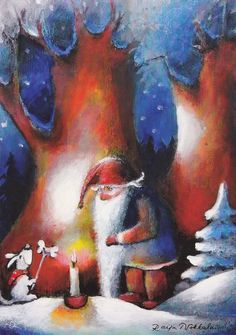 Image detail for -Raija+nokkala Winter Illustration, Children's Book Illustration, Christmas Illustration, Christmas Scenes, Noel Christmas, David The Gnome, Naive Art, Woodland Creatures, Christmas Pictures