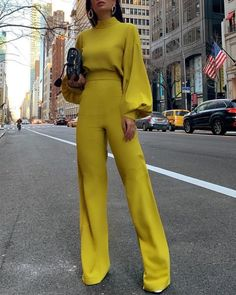 casual look Fashion Bishop Sleeve Pure Colour Half Collar Jumpsuits Look Fashion, Autumn Fashion, Fashion Outfits, Womens Fashion, Office Fashion, Elegant Fashion Style, Modern Fashion, Fashion Styles, Fashion Fashion