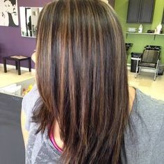 dark brown hair with caramel highlights and midlength hair