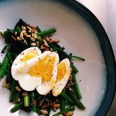 ready for summer. Soft boiled egg, asparagus, and sunflower seeds