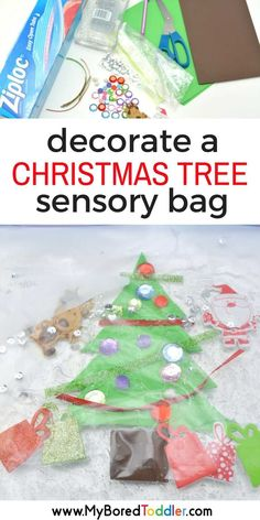 decorate a christmas tree toddler sensory bag. A fun toddler Christmas craft and toddler Christmas activity. Fun sensory play with this Christmas sensory bag that's perfect for babies toddlers one year olds, two year old and three year olds. Crafts For 3 Year Olds, Christmas Crafts For Toddlers, Toddler Christmas, Christmas Activities, Christmas Themes, Holiday Crafts, Celebrating Christmas, Preschool Christmas, Toddler Fun