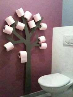 Toilet paper tree for kids bathroom. Lol they'd have the bathroom looking like it was Halloween all year I can picture toilet paper streamers everywhere! Toilet Paper Trees, Toilet Paper Holder Tree, Toilet Paper Humor, Toilet Paper Storage, Deco Originale, Home And Deco, Home Projects, Wooden Projects, Home Improvement