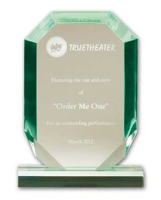"The Jade Acrylic Jewel Award is constructed from our premium .75"" thick glass tint acrylic and measures 7"" in height. Your congratulatory message will be laser engraved with precision craftsmanship. Company logos and special artwork are OK! This award ships in a presentation box.    http://www.edco.com/cat/jade-acrylic-awards"