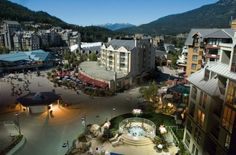 Whistler, BC, home to the 2010 Winter Olympics! This is Whistler Village, to be specific--a very picturesque resort town. It has skiing in the winter and mountain biking in the summer, and it's a great place to vacation with your dog.