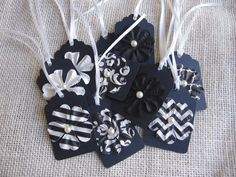 Black and White Gift Tags Set of 12 Wedding by SnowNoseCrafts